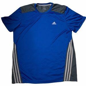 Adidas Classics 3 Stripes Blue Gray Tee Sport Gym
